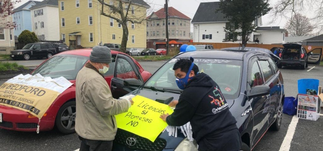 Movimiento Cosecha activists prepare for a car rally during the COVID pandemic (Source: Cosecha Massachusetts Facebook)